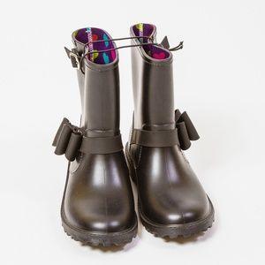 GFB Girl's Size 3 Rain boots Galoshes Black